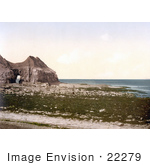 #22279 Historical Stock Photography Of The Cave On The Beach Of Thornwick Bay On The North Sea In Flamborough England