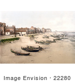 #22280 Historical Stock Photography Of Boats On The Beach The Esplanade And The Pier In Redcar North Yorkshire England Uk