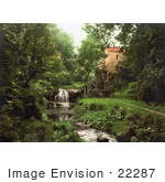 #22287 Historical Stock Photography Of A Waterfall By The Wheel Of Rigg Mill In Whitby North Yorkshire England Uk
