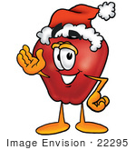 #22295 Clip Art Graphic Of A Red Apple Cartoon Character Wearing A Santa Hat And Waving
