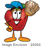 #22303 Clip Art Graphic Of A Red Apple Cartoon Character Catching A Baseball With A Glove