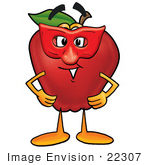 #22307 Clip art Graphic of a Red Apple Cartoon Character Wearing a Red Mask Over His Face by toons4biz