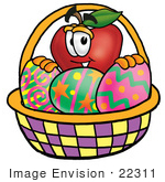 #22311 Clip Art Graphic Of A Red Apple Cartoon Character In An Easter Basket Full Of Decorated Easter Eggs
