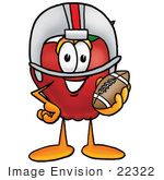 #22322 Clip art Graphic of a Red Apple Cartoon Character in a Helmet, Holding a Football by toons4biz