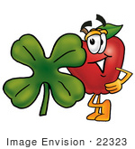 #22323 Clip Art Graphic Of A Red Apple Cartoon Character With A Green Four Leaf Clover On St Paddy'S Or St Patricks Day