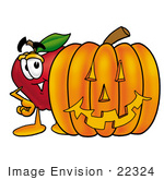 #22324 Clip Art Graphic Of A Red Apple Cartoon Character With A Carved Halloween Pumpkin