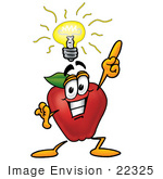 #22325 Clip Art Graphic Of A Red Apple Cartoon Character With A Bright Idea