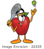 #22335 Clip art Graphic of a Red Apple Cartoon Character Preparing to Hit a Tennis Ball by toons4biz