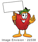 #22338 Clip art Graphic of a Red Apple Cartoon Character Holding a Blank Sign by toons4biz