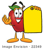 #22349 Clip Art Graphic Of A Red Apple Cartoon Character Holding A Yellow Sales Price Tag
