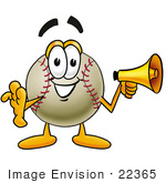 #22365 Clip Art Graphic Of A Baseball Cartoon Character Screaming Into A Megaphone