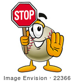 #22366 Clip Art Graphic Of A Baseball Cartoon Character Holding A Stop Sign