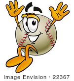 #22367 Clip art Graphic of a Baseball Cartoon Character Jumping by toons4biz