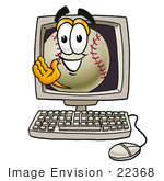 #22368 Clip Art Graphic Of A Baseball Cartoon Character Waving From Inside A Computer Screen