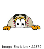 #22375 Clip art Graphic of a Baseball Cartoon Character Peeking Over a Surface by toons4biz