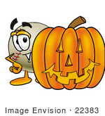#22383 Clip Art Graphic Of A Baseball Cartoon Character With A Carved Halloween Pumpkin