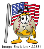 #22384 Clip Art Graphic Of A Baseball Cartoon Character Pledging Allegiance To An American Flag