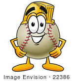 #22386 Clip Art Graphic Of A Baseball Cartoon Character Wearing A Helmet