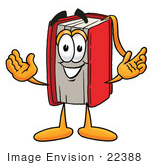 #22388 Clip Art Graphic of a Book Cartoon Character With Welcoming Open Arms by toons4biz