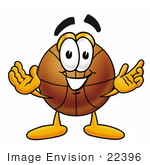 #22396 Clip art Graphic of a Basketball Cartoon Character With Welcoming Open Arms by toons4biz