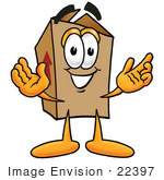 #22397 Clip Art Graphic Of A Cardboard Shipping Box Cartoon Character With Welcoming Open Arms