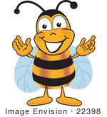 #22398 Clip art Graphic of a Honey Bee Cartoon Character With Welcoming Open Arms by toons4biz