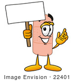 #22401 Clip Art Graphic Of A Bandaid Bandage Cartoon Character Holding A Blank Sign