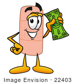 #22403 Clip Art Graphic Of A Bandaid Bandage Cartoon Character Holding A Dollar Bill