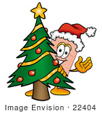 #22404 Clip Art Graphic Of A Bandaid Bandage Cartoon Character Waving And Standing By A Decorated Christmas Tree
