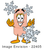 #22405 Clip Art Graphic Of A Bandaid Bandage Cartoon Character With Three Snowflakes In Winter