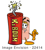#22414 Clip Art Graphic Of A Bandaid Bandage Cartoon Character Standing With A Lit Stick Of Dynamite