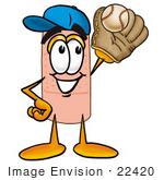 #22420 Clip Art Graphic Of A Bandaid Bandage Cartoon Character Catching A Baseball With A Glove