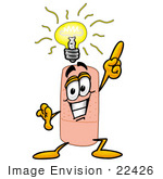 #22426 Clip Art Graphic Of A Bandaid Bandage Cartoon Character With A Bright Idea