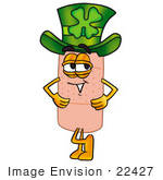 #22427 Clip Art Graphic Of A Bandaid Bandage Cartoon Character Wearing A Saint Patricks Day Hat With A Clover On It