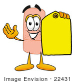 #22431 Clip Art Graphic Of A Bandaid Bandage Cartoon Character Holding A Yellow Sales Price Tag