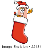 #22434 Clip Art Graphic Of A Bandaid Bandage Cartoon Character Wearing A Santa Hat Inside A Red Christmas Stocking