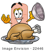 #22446 Clip Art Graphic Of A Bandaid Bandage Cartoon Character Serving A Thanksgiving Turkey On A Platter