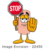 #22450 Clip Art Graphic Of A Bandaid Bandage Cartoon Character Holding A Stop Sign
