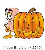 #22451 Clip Art Graphic Of A Bandaid Bandage Cartoon Character With A Carved Halloween Pumpkin