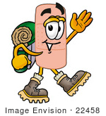 #22458 Clip Art Graphic Of A Bandaid Bandage Cartoon Character Hiking And Carrying A Backpack