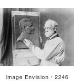 #2246 Henry K Bush-Brown Creating Bas-Relief Portrait Of Calvin Coolidge