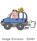 #22461 Clip Art Graphic Of A Bandaid Bandage Cartoon Character Driving A Blue Car And Waving