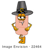 #22464 Clip Art Graphic Of A Bandaid Bandage Cartoon Character Wearing A Pilgrim Hat On Thanksgiving