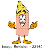 #22465 Clip Art Graphic Of A Bandaid Bandage Cartoon Character Wearing A Birthday Party Hat