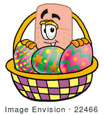 #22466 Clip Art Graphic Of A Bandaid Bandage Cartoon Character In An Easter Basket Full Of Decorated Easter Eggs