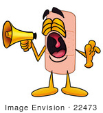 #22473 Clip Art Graphic Of A Bandaid Bandage Cartoon Character Screaming Into A Megaphone