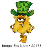 #22478 Clip Art Graphic Of A Gold Law Enforcement Police Badge Cartoon Character Wearing A Saint Patricks Day Hat With A Clover On It