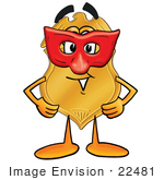 #22481 Clip Art Graphic Of A Gold Law Enforcement Police Badge Cartoon Character Wearing A Red Mask Over His Face