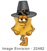 #22482 Clip art Graphic of a Gold Law Enforcement Police Badge Cartoon Character Wearing a Pilgrim Hat on Thanksgiving by toons4biz