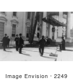 #2249 Calvin Coolidge Watching Men Working On The White House